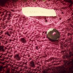 "Have you ever tried sewing buttons and labels onto sweaters with a toddler ""helping""? That was my morning."