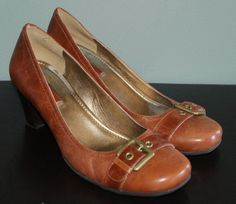 Ecco brown leather heels toe buckle shoes womens size 40 EU 9 9.5 US #ECCO…