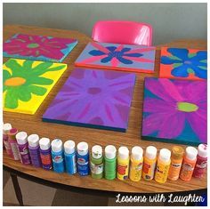 Beautiful flower paintings for Mother's Day! Can paint on either canvas or plain construction paper!