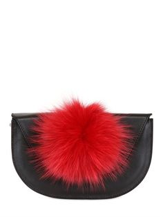 BALL CLUTCH WITH FUR POMPOM