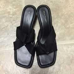 Black sandals Comfort sandals in black. Upper is made of stretchy material. Wedge heel. Shoes Sandals