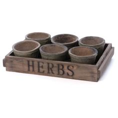 """Check out this item at One Kings Lane! S/6 4"""" Terracotta Planters w/ Wood Crate"""