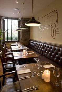 An interior shot of the Butchershop steakhouse in Glasgow, Scotland