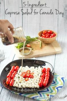 Caprese Salad is a simple appetizer for Canada Day. Food Network Recipes, Cooking Recipes, Healthy Recipes, Healthy Salads, Healthy Desserts, Salad Recipes, Frugal Meals, Easy Meals, Frugal Recipes