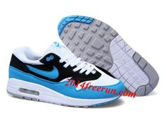 separation shoes bdacb c2f3d For Wholesale Mens Nike Air Max 1 White Black Blue Glow Sneakers