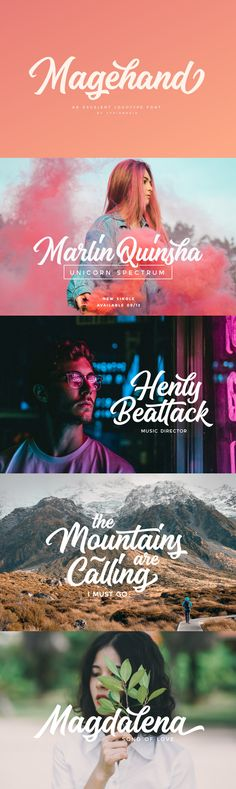Magehand - Magehand an excellent font for modern hand-lettered / lettering logo or headline designs. Suitable for any design needs : logo, branding, modern advertising design, logos, poster quote, book / cover Title, editorial design, card, custom mug, pillow...
