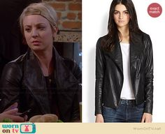 Penny's black leather jacket on The Big Bang Theory.  Outfit Details: http://wornontv.net/37398/ #TheBigBangTheory