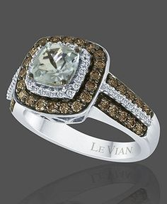 soothing hues and eye catching style of this beautiful ring by le vian featuring cushion cut aquamarine ct tw and round cut chocolate diamonds ct - Chocolate Diamonds Wedding Rings