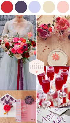 Looking for your wedding color palette? The Perfect Palette wants to help! The Perfect Palette is dedicated to helping you see the many ways you can use color to bring your wedding to life. Poppy Red Wedding, Purple Wedding, Summer Wedding, Wedding Black, Whimsical Wedding, Wedding Color Combinations, Wedding Color Schemes, Wedding Colors, Color Combos