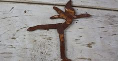 Mounted Fairy Shape. Shape is bent to be attached to a horizontal surface. #rustyfairy