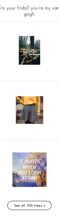 """""""i'm your frida♡ you're my van gogh."""" by elenadi-amante ❤ liked on Polyvore featuring pictures, backgrounds, flowers, image, photos, skirts, icons, pics, women and stretch waist skirt"""