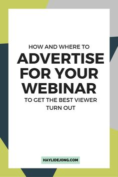 How to advertise for a webinar
