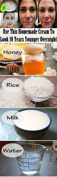 This homemade facial mask will hydrate your skin and you will look 10 years younger overnight. This is an anti-aging miracle that uses honey, rice, and is DIY. Keeping your skin looking youthful, firm, and radiant! Homemade Facial Mask, Homemade Facials, Homemade Beauty, Anti Aging Skin Care, Natural Skin Care, Natural Beauty, Beauty Care, Beauty Hacks, Beauty Solutions
