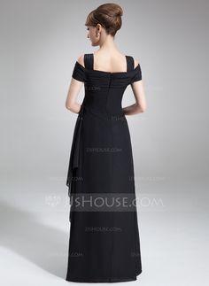 Sheath/Column Off-the-Shoulder Floor-Length Chiffon Evening Dress With Cascading Ruffles (017021117) - JJsHouse