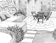 Design for a small family garden with built in wooden storage benches