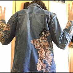 Denim jacket with lace Never worn. Denim jacket. Buttons. Lace designs Chico's Jackets & Coats Jean Jackets