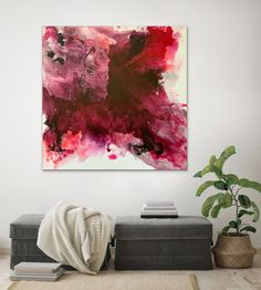 Stunning Red And Pink Abstract Painting For Sale Online. Artwork By Contemporary Artist Veronica Vilsan. Acrylic On Canvas Buy Paintings Online, Online Painting, Picasso Paintings, Original Paintings, Pink Abstract, Abstract Art, Abstract Paintings, Abstract Expressionism, Geometric Terms