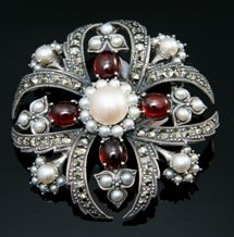 Sterling Silver Garnet, Marcasite and Seed Pearl Brooch Marcasite Jewelry, Garnet Jewelry, Red Carnation, Fool Gold, Art Nouveau Jewelry, Pearl Brooch, Ruby Red, Georgian, Glitters
