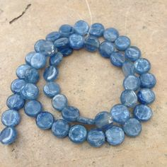 Kyanite Beads, kyanite disk beads, smooth, 9mm, 16 inch strand by marketplacebeads on Etsy