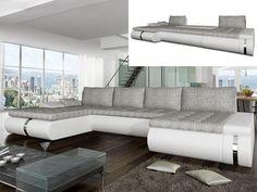 Canapé panoramique convertible AZELMA pas cher simili/tissu Blanc prix promo…