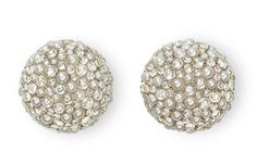 Hemmerle earrings in white gold, natural pearls, and diamond cabochons.