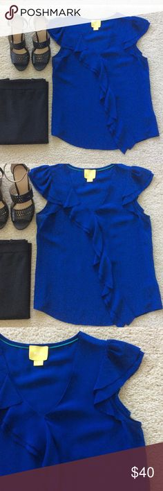 """{Anthropologie} Silk Ruffle Front Top {Anthropologie} 100% Silk, Ruffle Front Top by Maeve. Gorgeous colbalt blue color. Asymmetrical ruffle cascades down the front. Flutter sleeves. Laying flat approx 23.5"""" shoulder to hem, approx 18"""" pit to pit. Size 2. Excellent condition. Anthropologie Tops Blouses"""