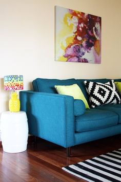 """Alison's """"Trippy Acid Yellow and Teal"""" Room"""