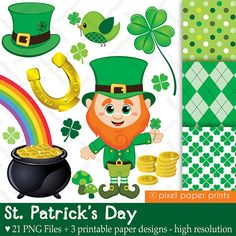 Clip art images by Pixel Paper Prints. Buy 3 get 1 free by pixelpaperprints Sant Patrick, St Patricks Day Clipart, Clip Art, Educational Activities, Work Activities, Pixel, Project Yourself, Print And Cut, Planner Stickers