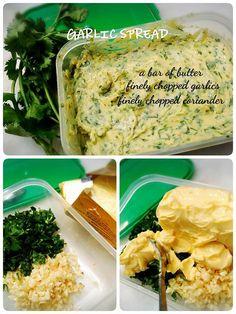 Butter. Coriander and garlic agak agak