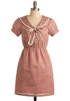 Splendor in the Grasslands Dress - Pink, Tan / Cream, Floral, Bows, A-line, Short Sleeves, Trim, Casual, Spring, Fall, Short