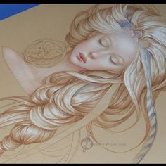 The hair is going to kill me! She is slowly coming along but at least I'm enjoying the process #art #hair #surreal #artnerd #drawing #coloredpencils #workinprogress. Jennifer Healy.