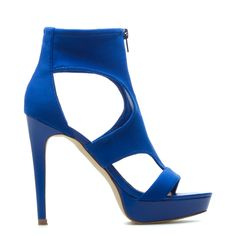 Platform sandal features a stretchy fabric front-zip vamp with peekaboo cutouts and a glam platform silhouette
