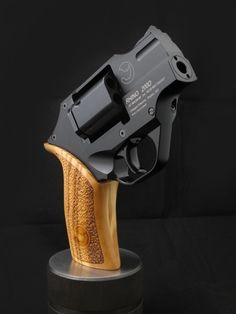 Chiappa Rhino Revolver - The Chiappa Rhino is a lot like a Lamborghini with its exotic Italian design, advanced engineering, and of course: blistering speed. With this snub-nose revolver, you can send six rounds of .357 magnum down range in 1.39 seconds–– with a minimal amount of felt recoil. Kick is mitigated thanks to the bottom chamber firing position.  (This link has some excellent photos).