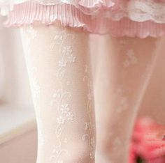 Japanese retro cute flower bud silk tights