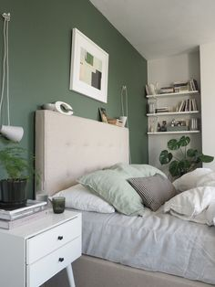 A simple guest bedroom update with Heal's Morten Collection - cate st hill Light Green Bedrooms, Green And White Bedroom, Green Bedroom Walls, Green Master Bedroom, Bedroom Wall Colors, Green Bedroom Colors, Green Bedroom Design, Sage Green Walls, Grey Bedrooms