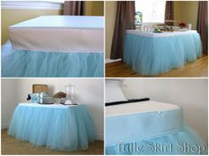Blue Tulle Table Skirt, Tutu Tableskirt for Wedding, Birthday, Baby Shower- Custom Size, Made to Order - New Deko Sites Deco Baby Shower, Baby Shower Table, Diy Shower, Boy Baby Shower Themes, Baby Shower Cakes, Baby Shower Parties, Baby Boy Shower, Shower Ideas, Bridal Shower Table Decorations
