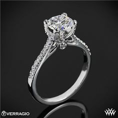 Verragio 4 Prong Pave Diamond Engagement Ring