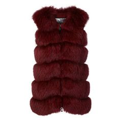 Cara Mila long length fur gilet ❤ liked on Polyvore featuring outerwear, vests, fur waistcoat, red waistcoat, gilet vest, fur vests and collarless vest