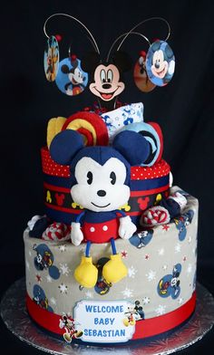 Mickey Mouse Themed Diaper Cake www.facebook.com/DiaperCakesbyDiana