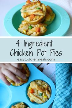 4 Ingredient Mini Chicken Pot Pies A bite sized twist to a classic comfort recipe. Make these easy individual mini chicken pot pies with just four ingredients in less than 30 minutes – it's the perfect weeknight dinner for kids and adults! Healthy Family Dinners, Family Meals, Healthy Toddler Meals, Toddler Dinners, Toddler Dinner Recipes, Toddler Chicken Recipes, Easy Kids Meals, Dinner Ideas For Toddlers, Easy Kids Recipes