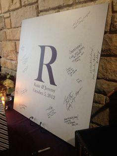 Custom printed sign in board for a wedding reception. #njwedding www.speedproNJ.com