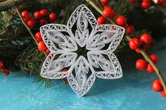 ASPEN snowflake - Paper quilled ornament - Christmas decoration - Handmade gift by OrnamentHouse on Etsy https://www.etsy.com/listing/198437016/aspen-snowflake-paper-quilled-ornament