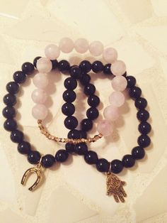 Purple and Black Beaded Bracelet Set by MadisonMillerBeads on Etsy, $20.00