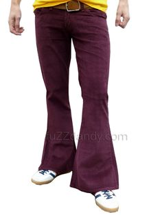 FLARES Red Purple mens bell bottoms Cords hippy vtg indie trousers 60s 70s NEW #RunFlyUK #FlatFront