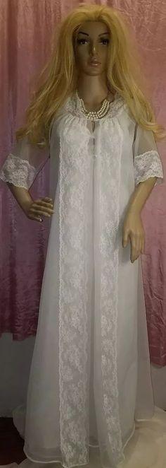 a24d6a5590 VTG Sheer Chiffon Peignoir Shadowline Nightgown Robe Lingerie Bridal White  S pt
