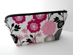 Large Zipper Pouch Flat Bottom Padded ECO Friendly Cosmetic Bag Fuschia Floral by JPATPURSES, $18.00