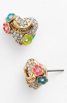 Juicy Couture 'Blooming Hearts' Pavé Stud Earrings available at #Nordstrom