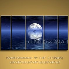 Large Contemporary Wall Art Seascape Painting Moon Scene Sunrise Scenery. In Stock $195 from OilPaintingShops.com @Bo Yi Gallery/ ops3005