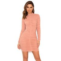 'Soleil' Dusty Pink Ruched Mesh BodyCon Dress