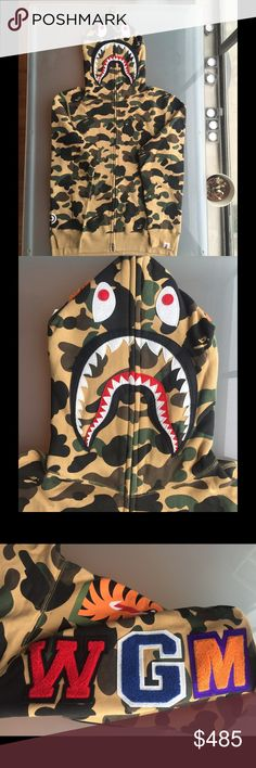 BAPE shark hoodie camo Large authentic. size large, perfect condition. Shirts Sweatshirts & Hoodies